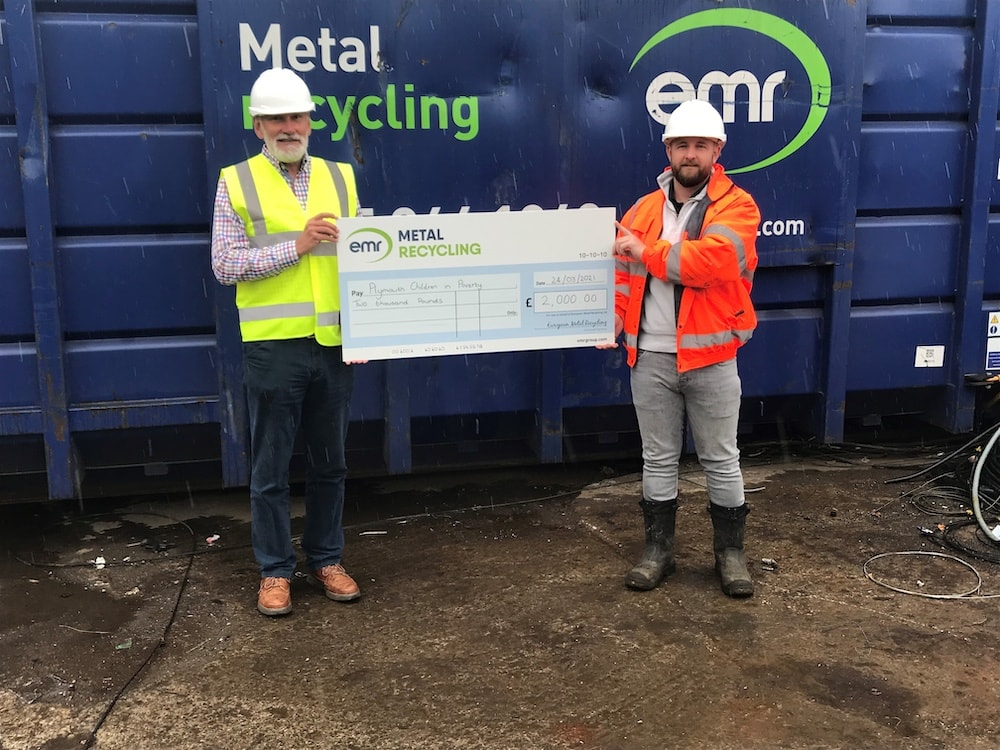 Damon Kinnair, Operations Manager at EMR Plymouth awarding donation to Plymouth Children in Poverty