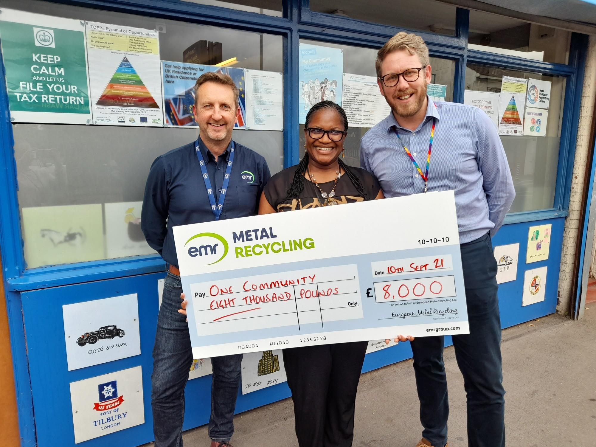 EMR Tilbury awards donation to One Community