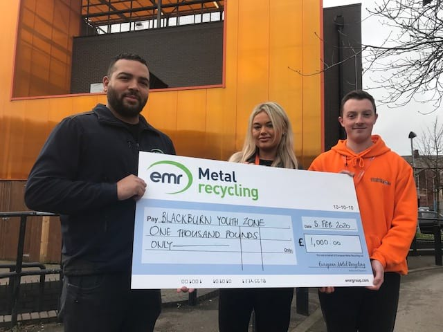 EMR presenting cheque to Blackburn Youth Zone