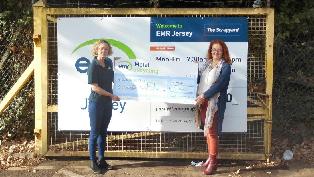 EMR Jersey presenting the Seedy Sunday donation