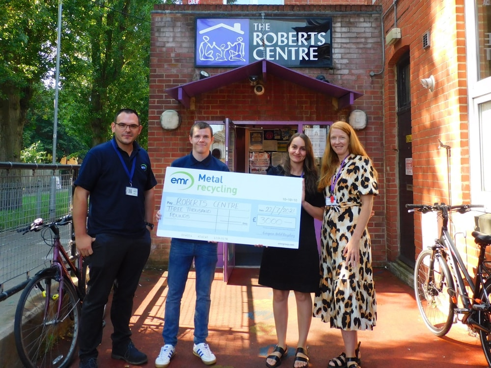 Steve Simper, Operations Manager at EMR Portsmouth awards donation to The Roberts Centre