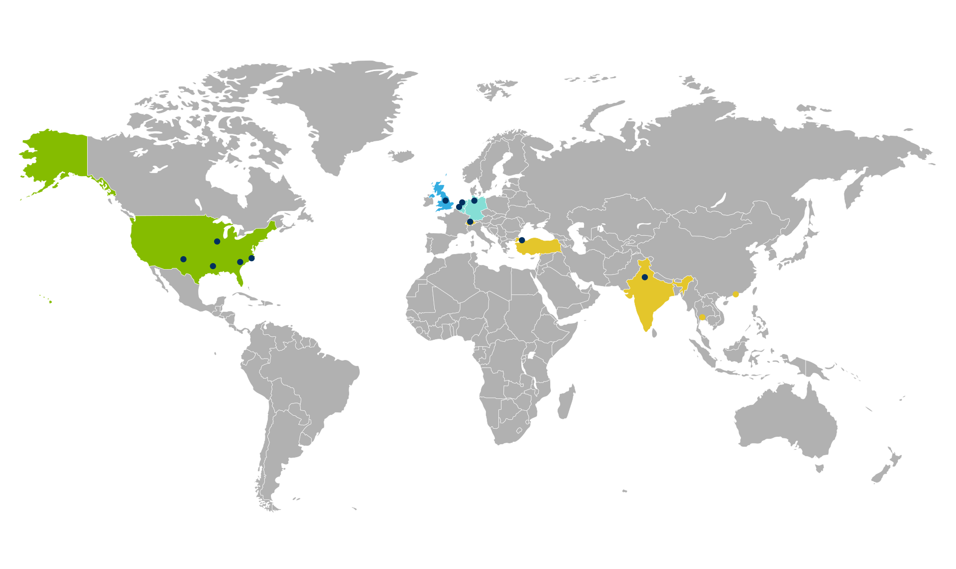 Map of EMR global locations